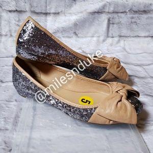 Franco Sarto Glitter Flats with Leather Bow sz 5